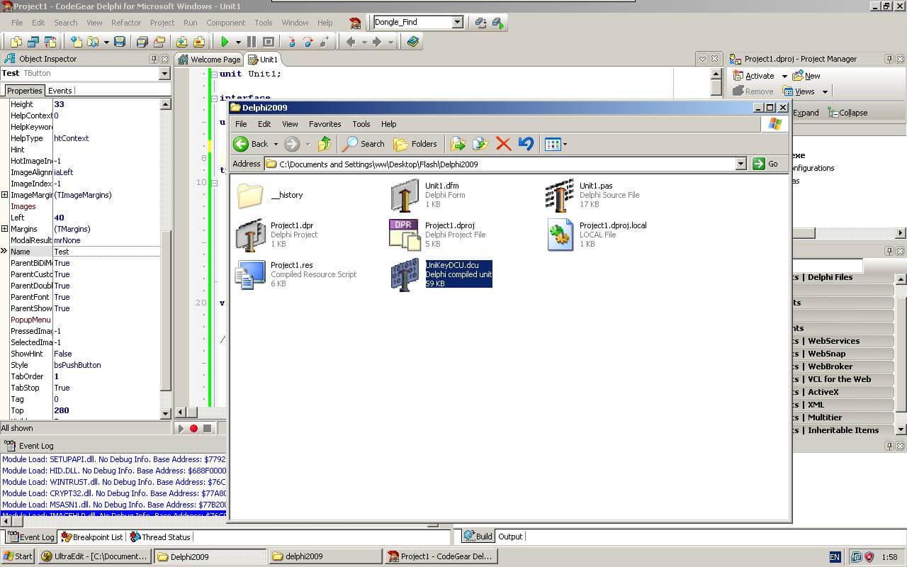 Step8, Put UniKey.dcu into project folder