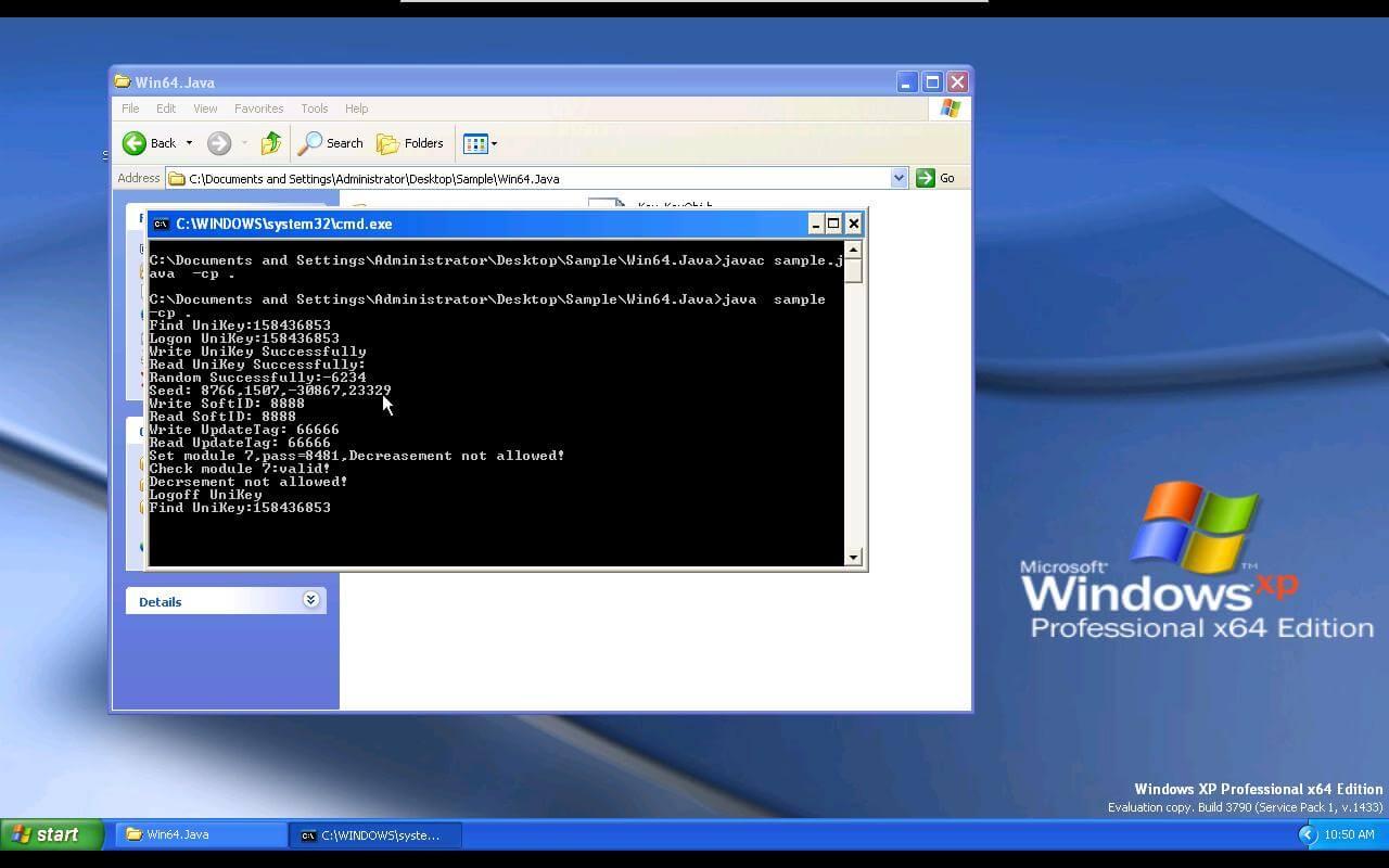 IOLock - Java Windows 64 bits Unikey API cookbooks sample